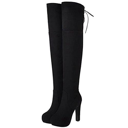 AIYOUMEI Damen Stretch Overknee Stiefel mit Plateau Stiletto High Heels Langschaft Stiefel Schuhe 4UcFp9AJ
