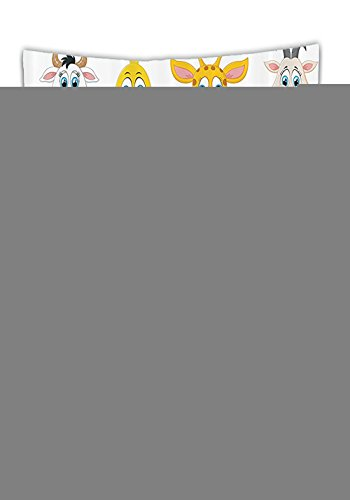 Chaoran Tablecloth Cartoon Decor Set by Cartoon Comic Design of Collection of Smiling Animal Faces Visages Koala Fox Pi Caricature Bathroom Accessories Extralong Holiday Home Decorative