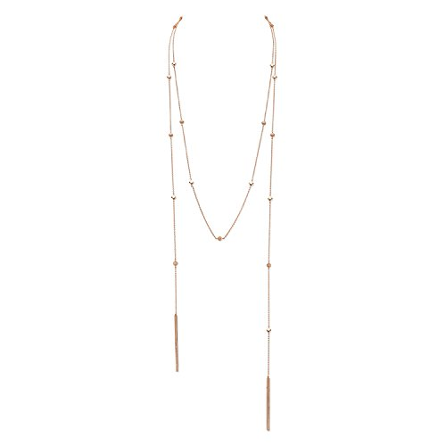 CHARLIZE GADBOIS 925 Sterling Silver Dual Lariat Wrap Necklace for Women, Rose Gold Plated, 54'' by Gadbois Jewelry