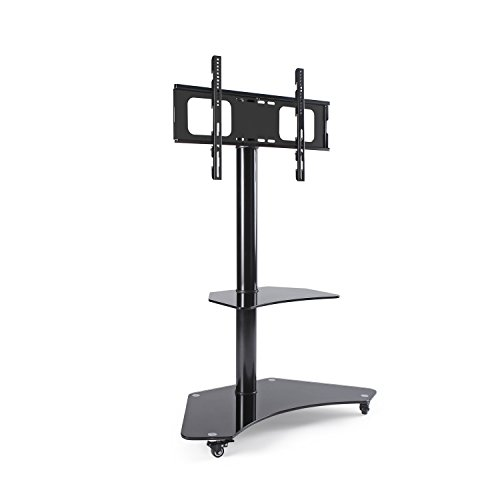Rfiver Curved Glass Tv Floor Stand With Swivel Mount Bracket And