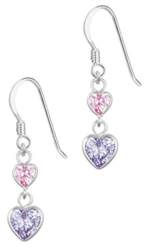 Hypoallergenic Sterling Silver Pink & Lavender Double Heart CZ Dangle Earrings for Kids (Nickel Free) (Double Heart Dangle Earrings)