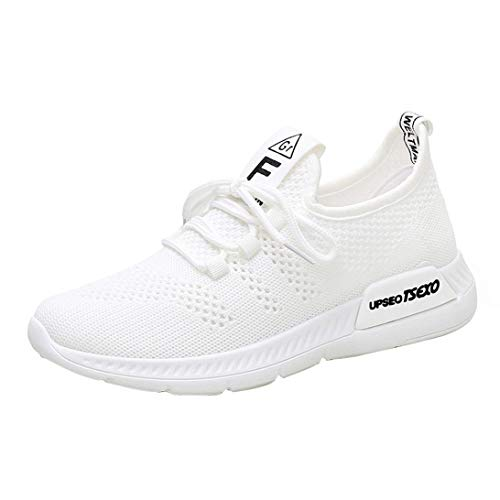 de Primavera Mallas otoño Transpirables Running Verano Zapatillas QinMM Mujer Deportivos Gym con Cordones para Blanco Merceditas Zapatos TwFnp15Hqp