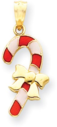 Quality Gold Candy Cane Charm, 14K Yellow (14k Candy Cane Charm)