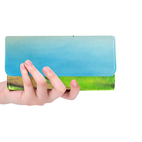 Unique Custom Country Landscape Tuscany Italy Sunset Digital Women Trifold Wallet Long Purse Credit Card Holder Case Handbag