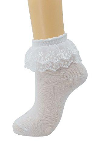 (Women Lace Ruffle Frilly Ankle Socks Fashion Ladies Girl Princess H08 (White-1)