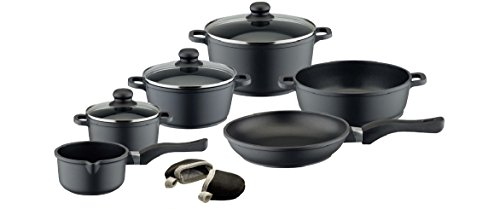 ELO Black Die-Cast Aluminum Kitchen Cookware Pots and Pans Set with Durable Non-Stick Coating and Oven Mitts, 6-Piece, 3-lids ()
