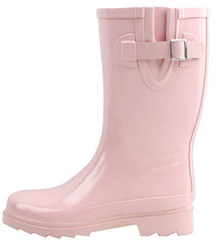 Sunville New Women's Mid-Calf Rubber Rain Boots,7 B(M) US,Pink