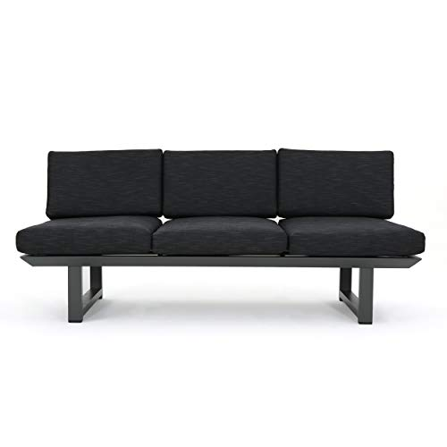 Great Deal Furniture Bonnie Outdoor Grey Finish Rust-Proof Aluminum 3 Seater Sofa with Dark Grey Water Resistant Cushions