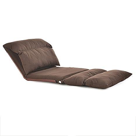 Xin-Sofa Flotadores de Ocio/sillas de cabecera/único Plegable Alargado, sofá Plegable extraíble (Material Exterior: Ropa de Cama/Franela) (Color : Marrón): ...