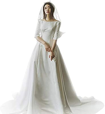 Women S Satin Wedding Dress Open Back Big Bow Bridal Gown White