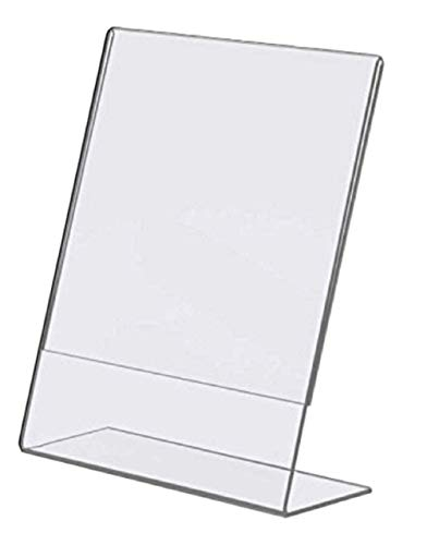 T'z Tagz Brand Plexi Acrylic 8.5 X 11 Single Slant Back Design Sign Holder - Clear - Pack of 6