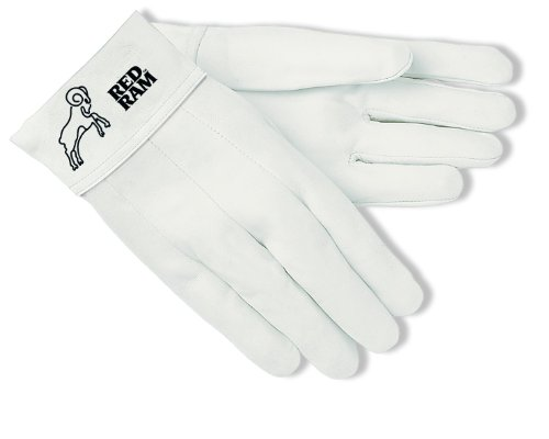 Tig Welder Glove Mig (MCR Safety 4907 Red Ram Premium Grade Grain Goatskin MIG/TIG Welder Gloves with 2-Inch Bandtop Cuff, White, Size 7)
