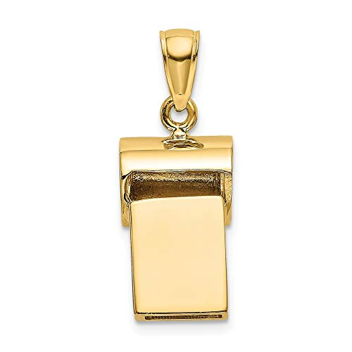 14K Yellow Gold 3-D Whistle Charm Pendant