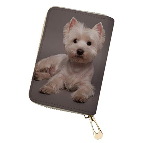 (Upetstory Women's RFID Blocking 18 Slots Card Holder Leather Zipper westie Print)