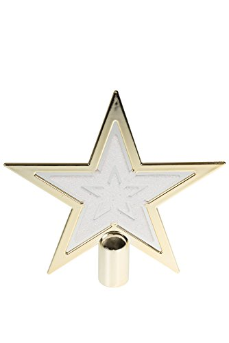 Clever Creations Gold & White Star Christmas Tree Topper Festive Christmas Decor | Sparkling Gold & White Shatter Resistant Plastic | 8