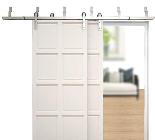 WINSOON 4FT-18FT Modern Sliding Bypass Barn Door Hardware 304 Stainless Steel Double Doors Kit Cabinet Closet System Silver (8FT Bypass Hardware Kit) ()