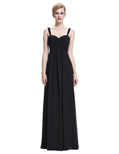 Belle Poque® Vestido Largo de Fiesta para Boda Vestido de Gala sin Mangas de Ceremonia para Mujer Maxi Negro(ST65-1)