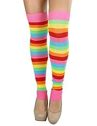 ToBeInStyle Women's Knee Length Rainbow Striped Leg Warmers