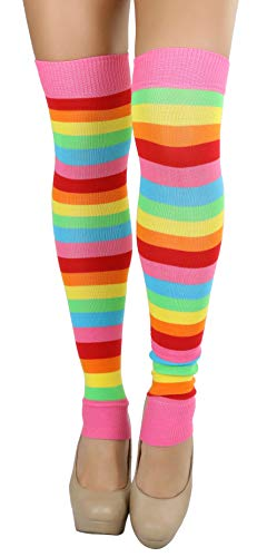 ToBeInStyle Women's Rainbow Striped Leg Warmers - Multicolor - One -