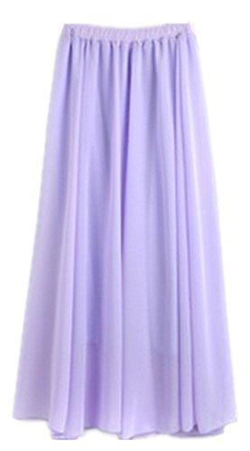 zoulouyou Blanc Violet Plisse Femme Wei Unique Jupe Uni Taille TIrZTq