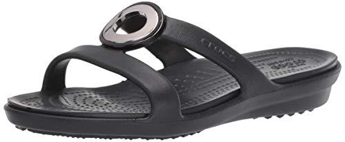 Crocs Women's Sanrah MetalBlock Sandal Slide, Gunmetal/Black, 10 M US