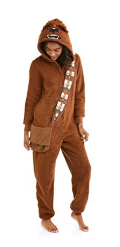 Disney Women's Faux Fur Licensed Sleepwear Adult Costume Union Suit Pajama (XS-3X) Chewbacca (Chewbacca Adult Costumes)