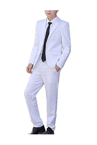Sebaby Men Gentleman 3 Pieces Outwear Relaxed Party Blazer Vest Pants Set White XL (Wedding 3 Piece Suits For Groom In India)