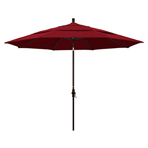 California Umbrella 11' Round Aluminum Market Umbrella, Crank Lift, Collar Tilt (Costco Deck Umbrella)