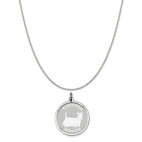 Mireval Sterling Silver Scottish Terrier Disc Charm on a Sterling Silver Carded Box Chain Necklace, 18
