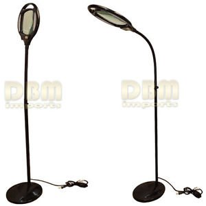 Black Reading Magnifier Floor Stand Lamp Light Flexible