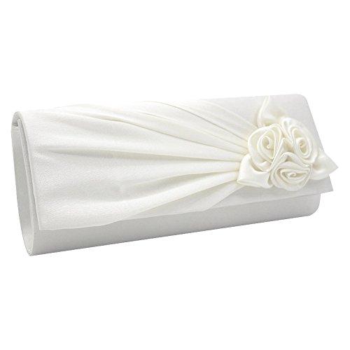 With Handbag Ladies White Prom Wedding Wocharm Clutch Satin Bag Party Womens Rose Evening Bridal Handbag aInpCBn