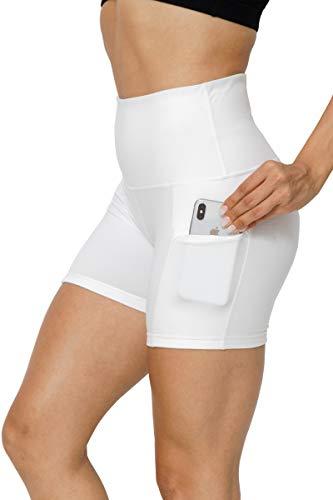 GEMLON Women Yoga Shorts High Waisted with Pockets, Tummy Control Workout Non-See-Through Yoga Leggings White