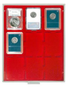 LINDNER Original Coin Box for Certified Coins with Red Velour