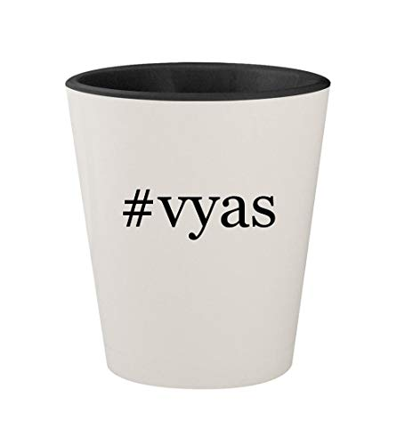 (#vyas - Ceramic Hashtag White Outer & Black Inner 1.5oz Shot Glass)