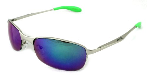 X-Loop Sport Matrix Style Sunglasses Silver Green - Matrix Style Sunglasses