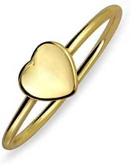 Bling Jewelry Gold Plated Thin Stackable Heart Midi Ring Sterling Silver