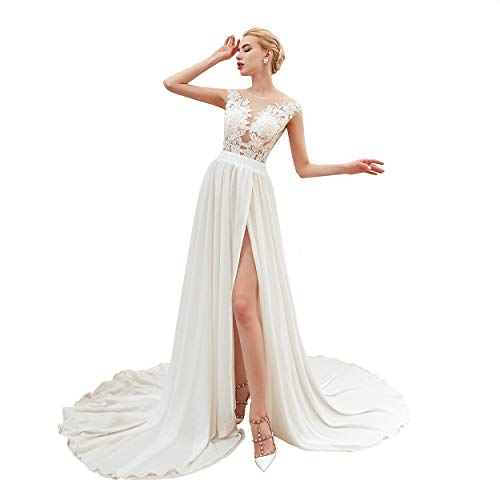 Chadox High Slit Beach Wedding Dress for Bride Lace Appliques Formal Gowns Long Train White