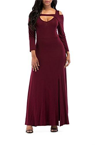 ONLYSHE Women V-neck Solid Color Spaghetti Strap Boho Long Maxi Dresses Wine Red Large
