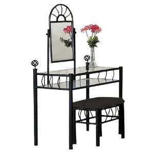 black metal bedroom vanity with glass table. Black Bedroom Furniture Sets. Home Design Ideas