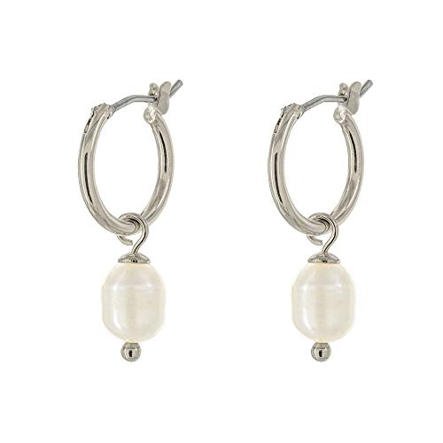 (Columbus Rhodium Plated Charm Huggie Hoop Earrings - Imitation Pearl Drop Earrings - Pearl Earrings - Small Hoop Earrings (Silver Pearls))