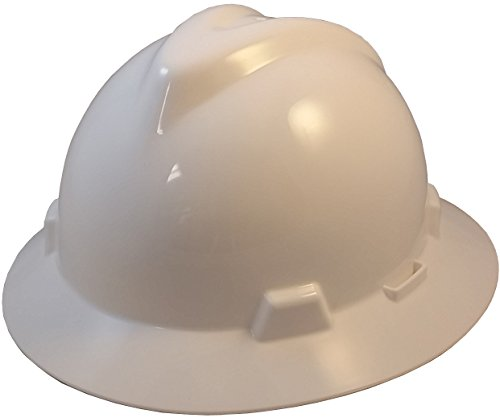 MSA V-Gard One-Touch Suspension Full Brim Hard Hats - White