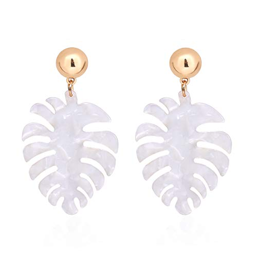 Acrylic Earrings For Women Girls Statement Palm Leaf Earrings Resin monstera Drop Dangle Earrings Fashion Jewelry (White)