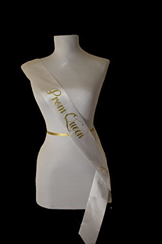 Prom Queen Sash - WHITE SATIN RIBBON with GOLD GLITTER encased in the lettering - Halloween Party Decorations - Prom Decorations - by Dulcet Downtown (Halloween Queen)