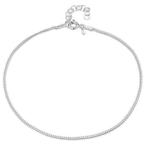 925 Fine Sterling Silver 1.5 mm Adjustable Anklet - Curb Chain Ankle Bracelet - 9