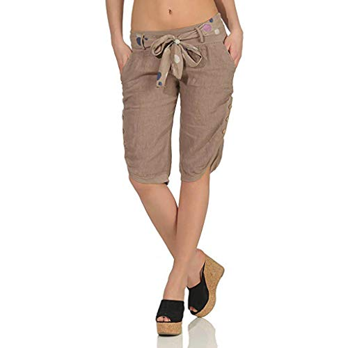 hositor Yoga Pants, Ladies Summer Elastic Waist Check Pants Shorts Baggy Wide Leg Plus Yoga Capris Khaki