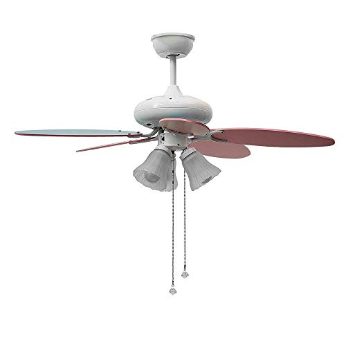 JSAUTO Indoor Ceiling Fan with Rope Control, Pink Color Kids Room Ceiling Fan 42 Inch, 65W Cooper Coil Ceiling Fan with Reversible Blades, Ceiling Fan Light Source(Not Included)