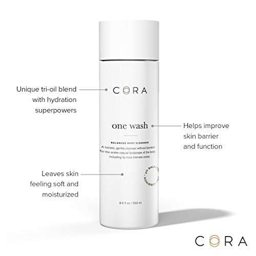 One Wash by Cora for a Natural, All-Over Clean - pH Balanced, tri-Oil Blend with Hydration Super-Powers - Lightly Scented with Notes of Sandalwood, Lavender and Mandarin