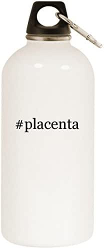 Molandra Products #Placenta - White Hashtag 20oz Stainless Steel Water Bottle with Carabiner