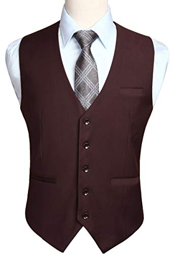 HISDERN Men's Suit Vest Business Formal Dress Waistcoat Vest with 3 Pockets for Suit or Tuxedo Brown