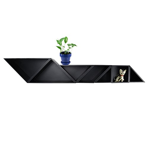 Cozee 7pc Free Floating Shelf Set Wood Wall Mounted Modern Decorative Shelves (Shelf Floating Triangle Corner)